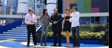 El alcalde de Puerto Lumbreras, el consejero de Presidencia y los presentadores de 'Murcia  Donde Vive el Sol' ultiman los detalles del montaje de la Gala
