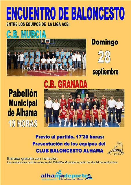 Alhama acoge el encuentro de baloncesto entre C.B. Murcia y C.B. Granada, Foto 1