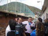 Derrumbe de un muro del Colegio Santiago Apóstol de Portmán a causa de las fuertes lluvias