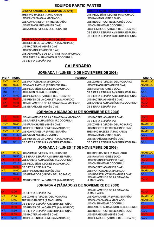 Baloncesto escolar, categoría alevín. Resultados de la primera jornada y calendario de encuentros, Foto 2