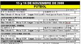 Agenda deportiva fin de semana 15 y 16 de Noviembre