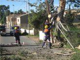 Voluntarios de Protección Civil y agentes de la Policía Local realizan más de medio centenar de actuaciones debido al fuerte temporal