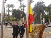 Izada de bandera para conmemorar la festividad de san Blas en Santiago de la Ribera