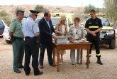 El alcalde de Puerto Lumbreras y la consejera de Presidencia colocan la primera piedra del nuevo Centro Integral de Seguridad y Emergencias