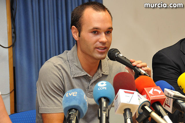 The FC Barcelona player Andres Iniesta visit Totana