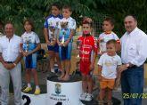 El joven totanero del Club Ciclista Santa Eulalia, José Ángel Camacho, sube a la tercera posición del podium en Totana