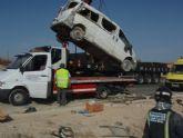 Ocho trabajadores agrícolas magrebíes heridos al volcar una furgoneta en Mula
