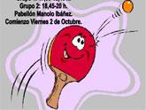 El próximo viernes día 2 de octubre se iniciarán las clases de la Escuela Deportiva de Tenis de Mesa