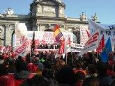 Más de un centenar de trabajadores totaneros asistieron hoy en Madrid a la manifestación, convocada por CC.OO. y UGT