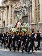 La Dolorosa de los Santos Pasos de Salzillo, protagonista del desfile procesional de la mañana del Sábado de Pasión