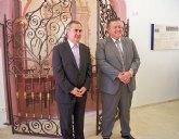 El delegado del Gobierno y el alcalde de La Unión visitan  las obras de los pabellones deportivos de Portmán y Roche y del museo etnográfico