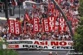 UGT y CCOO se echan a la calle en Murcia en contra de la reforma laboral y la política de ajuste del Gobierno del Estado
