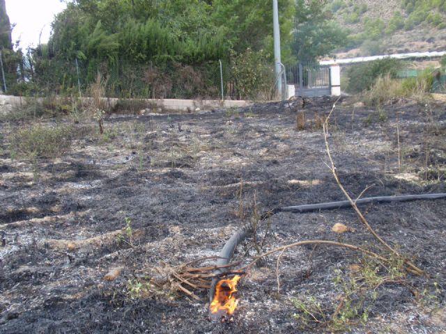 Protecci�n Civil, Bomberos, Agentes Forestales y Polic�a Local de Totana participan en las labores de extinci�n de un incendio, Foto 1