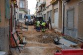 Las obras de reforma de las calles Reloj y Mayor de Lorquí, a buen ritmo