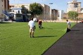 Empiezan a colocar el césped artificial en Ciudad Jardín