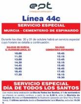 Obras Públicas amplía hasta las 11.000 plazas el transporte público en Murcia para el Día de Todos los Santos