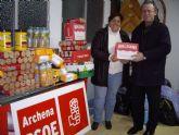 El PSOE de Archena dona 100 kg de comida para los ciudadanos más necesitados del municipio