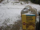 La nieve ha empezado a cuajar a partir de la altura del Collado del Pilón, y en la zona del EVA 13 de Sierra Espuña