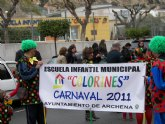Masiva participación en el carnaval de los escolares de la Escuela Infantil Municipal 'Colorines', a pesar de la climatología adversa