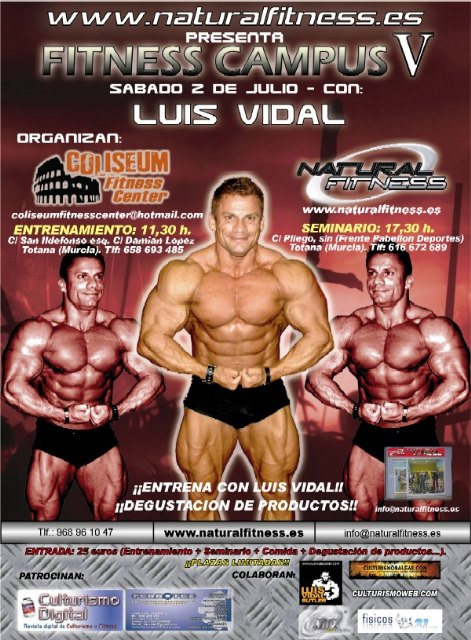 The great bodybuilder Luis Vidal taught in Spanish Totana a Campus Training