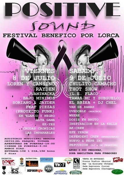 Organize a rap festival beneficial for Lorca