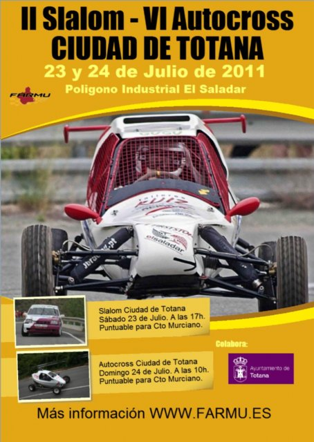 The Second Slalom and Autocross Totana City will take place on 23 July 24