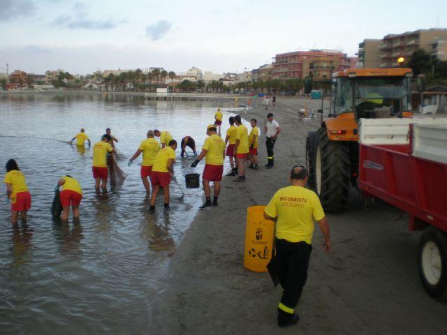 Más de una treintena de voluntarios de Protección Civil colaboran en la retirada de medusas - 2, Foto 2