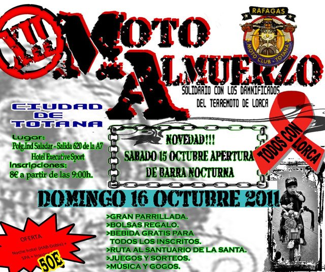 """This Sunday will take place on MotoAlmuerzo XII """"Totana City"""" organized by the Motoclub Gust"""