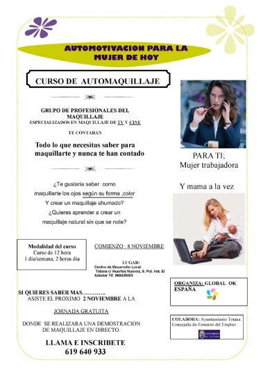 """The Local Development Center is launching a course on """"Motivation through personal image (automaquillaje)"""""""