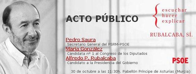 The Socialist Party chartered buses Totana public ceremony in Murcia Rubalcaba
