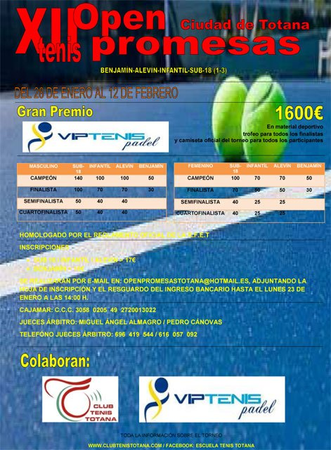 Begin Promises XII Tennis Open Totana City, Grand Prix Tennis Vip