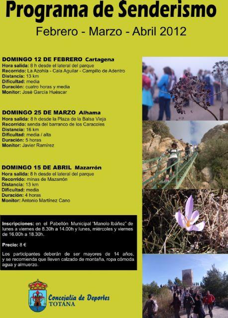 La concejal�a de Deportes organiza este domingo, d�a 12, una nueva ruta de senderismo por el litoral de Cartagena, Foto 1