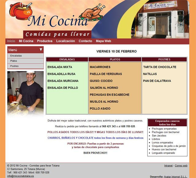 """Check the daily menu of """"My Kitchen"""" on your new website"""