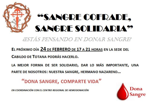 The Second solidarity campaign promoted blood donation by the Illustrious Cabildo will take place on Friday 24 February