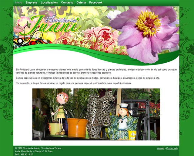 Juani Florist and has a colorful floral website