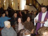Los usuarios de los Centros de Día de Personas Mayores dependientes visitan la parroquia de santiago con motivo del Miércoles de Ceniza