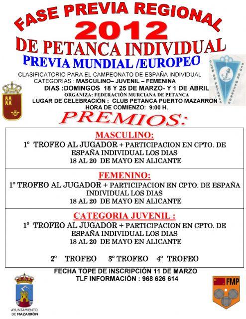 El club de petanca de Mazarrón acoge la fase previa regional del campeonato de petanca individual, Foto 1