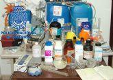 La Policía Nacional desmantela en Alcantarilla un laboratorio dedicado a la producción de metanfetamina