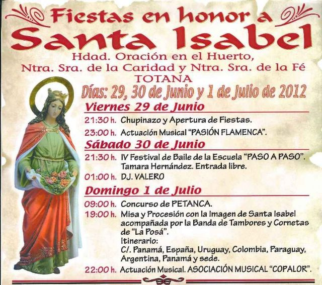 The party was in the neighborhood of Alta, in honor of Santa Isabel, held this coming weekend