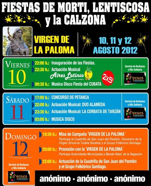 Las fiestas de Mortí, Lentiscosa y la Calzona en honor a la Virgen de la Paloma tendrán lugar del 10 al 12 de agosto - 2, Foto 2