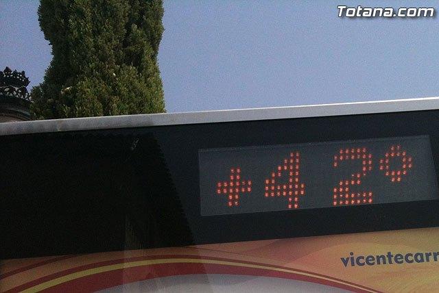 La Agencia Estatal de Meteorología(AEMET) advierte que hoy se volveran a superar los 42 grados de temperatura en algunas zonas de la Región de Murcia, Foto 1