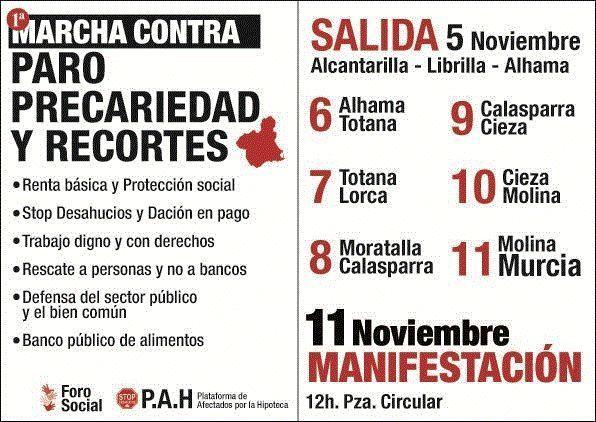 Hoy martes 6 de noviembre llega a Totana la Marcha contra el paro, la precariedad y los recortes, Foto 1