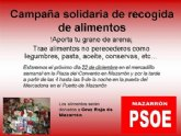 La Agrupación Socialista de Mazarrón organiza una recogida solidaria de alimentos