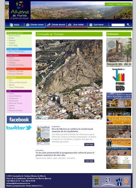 La web de Turismo de Alhama de Murcia, desarrollada por la empresa totanera Avatar Internet, finalista en los premios web de La Verdad, Foto 1