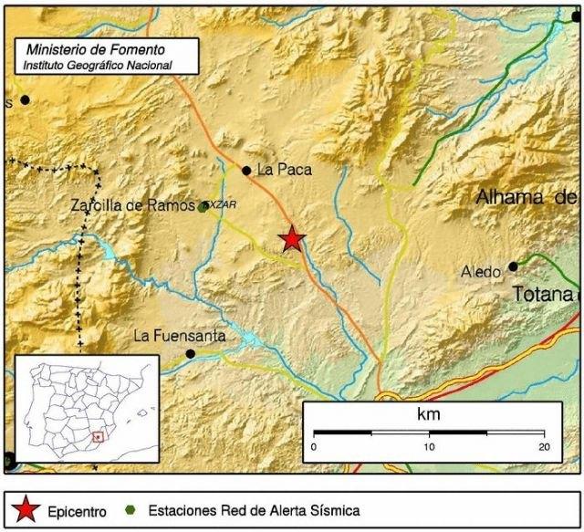 Movimiento sísmico de intensidad 4,3 al noroeste de Aledo, Foto 1