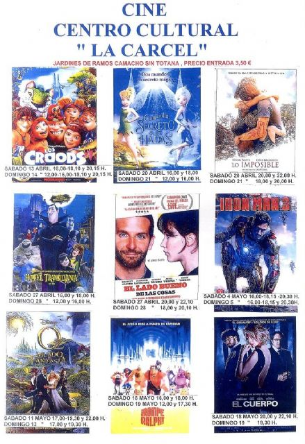 La programación del cine en el Centro Sociocultural La Cárcel está cerrada hasta el 19 de mayo con nueve películas que están en cartelera, Foto 1