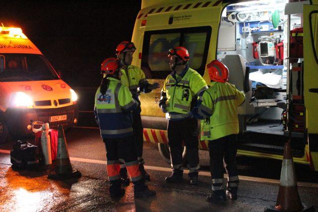 Protecci�n Civil de Totana participa en un simulacro en caso de accidente m�ltiple en el t�nel de la Autov�a de Lorca, Foto 2