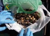 La Guardia Civil detiene a dos personas con más de 150 bellotas de hachís ocultas en maletas de viaje
