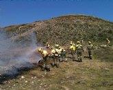 Unos cien especialistas participan en Cieza en un ejercicio práctico para mejorar las técnicas de extinción de incendios forestales