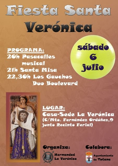The feast of St. Veronica will be this Saturday July 6